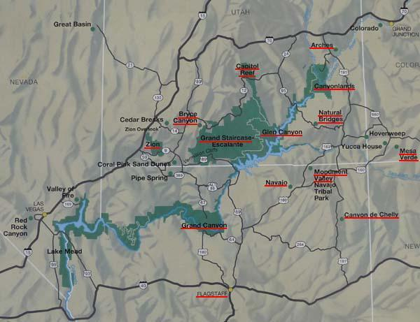 This Map Shows The Main Parks Of My Trip Zion Bryce Canyon Capital Reef Natural Bridges Valley Monument Grand Canyon Canyon De Chelly Mesa Verde